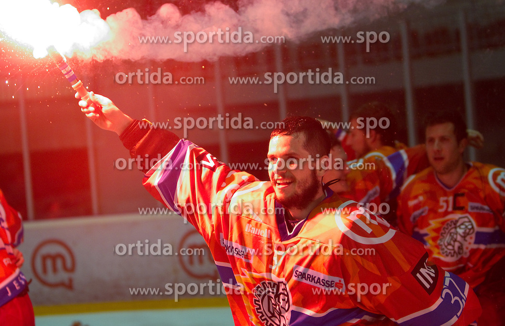 Michal Fikrt of Acroni Jesenice celebrates after winning the ice-hockey match between HK Acroni Jesenice and HDD Tilia Olimpija in fourth game of Final at Slovenian National League, on April 8, 2011 at Arena Podmezakla, Jesenice, Slovenia. Jesenice defeated Olimpija 4-2 and became Slovenian National Champion 2010-2011. (Photo by Vid Ponikvar / Sportida)