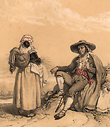 Gypsy family from the Spanish Pyrenees. The small child is carried in a sling on the mother's back. Tinted lithograph from 'Nouvelles Suite de Costumes des Pyrenees' (Paris, c1840).