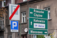 Road signs to Katowice Warsaw and Balice Airport seen in Krakow Poland