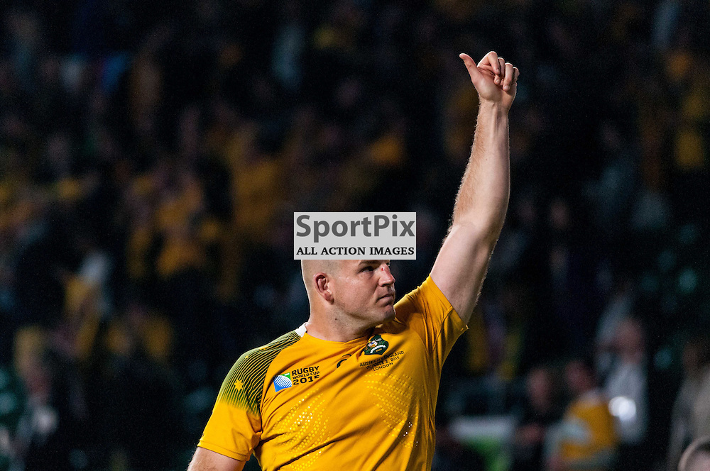Stephen Moore captain of Australia gives a thumbs up to celebrating Aussie fans. Action from the England v Australia game in Pool A of the 2015 Rugby World Cup at Twickenham in London, 3 October 2015. (c) Paul J Roberts / Sportpix.org.uk