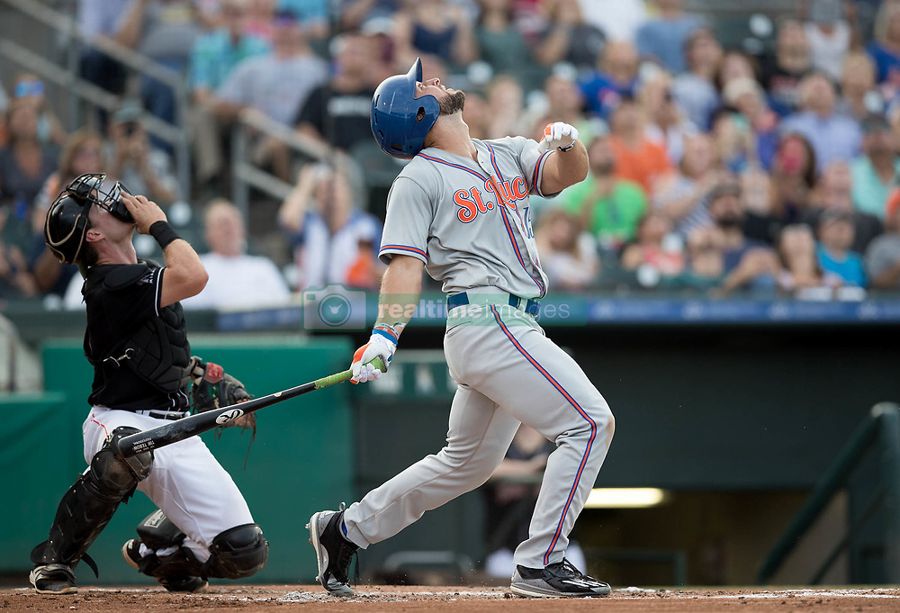 July 7, 2017 - Jupiter, Florida, U.S. - St. Lucie Mets Tim Tebow fouls off a pitch in the second inning at Roger Dean Stadium in Jupiter, Florida on July 7, 2017. (Credit Image: © Allen Eyestone/The Palm Beach Post via ZUMA Wire)