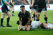 Reuben Morgan-Williams of the Ospreys scores his teams first try during the Anglo Welsh Cup match between Ospreys and Wasps at The Liberty Stadium, Swansea, Wales on 10 November 2017. Photo by Andrew Lewis.