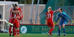 NEWPORT, WALES - Tuesday, June 12, 2018: Wales players celebrate at the final whistle after beating Russia 3-0 during the FIFA Women's World Cup 2019 Qualifying Round Group 1 match between Wales and Russia at Newport Stadium. Captain Sophie Ingle, Jessica Fishlock, Loren Dykes, Nadia Lawrence, goalkeeper Laura O'Sullivan. (Pic by David Rawcliffe/Propaganda)