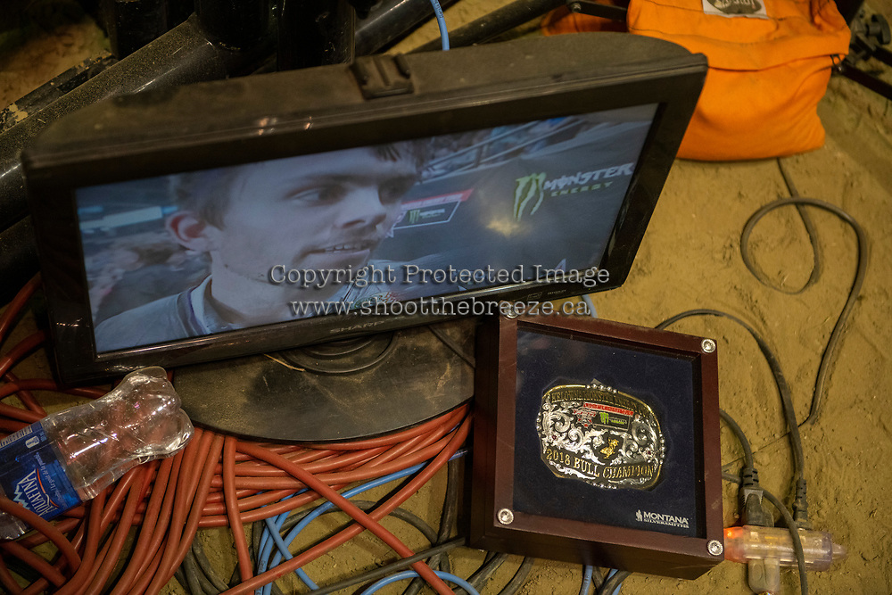 KELOWNA, CANADA - JULY 7:  Lachlan Richardson, 25,  of Gresford, NSW, Australia, is seen on the flat screen during an interview after winning the Kelowna round of the Monster Energy Pro Bull Riding tour on July 7, 2018 at Prospera Place in Kelowna, British Columbia, Canada.  (Photo by Marissa Baecker/Shoot the Breeze)  *** Local Caption ***