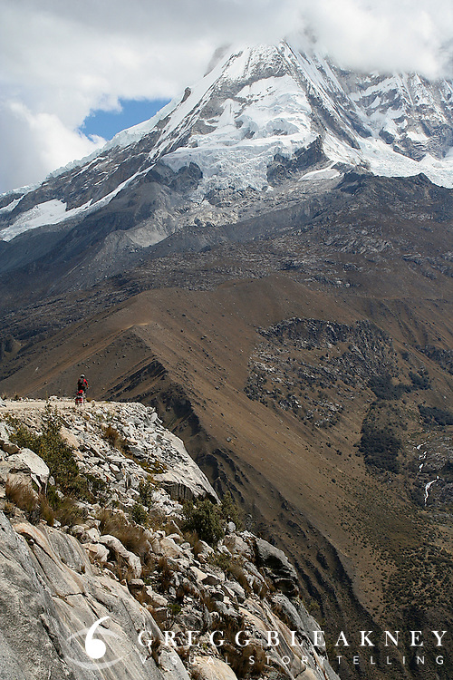 Wouter the Mad Scientist descends the west slope of 16,040 ft. Punta Oli?mpica Pass in Peru's Cordillera Blanca, one of the highest passes in the world - Huascaran National Park - South America