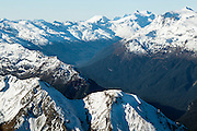 Aerial over a snow-capped Southern Alps, South Island, New Zealand