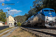 AMTRAK Train pulls into the smallest train depot in the USA at Thurmond, New River Gorge National River, West Virginia, USA