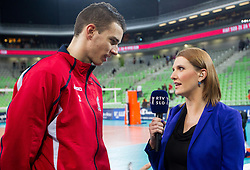 Alen Pajenk of Macerata talks to Marjeta Hocevar of RTV Slovenija after the volleyball match between ACH Volley and Lube Banca Marche Macerata (ITA) in 5th Leg of Pool D of 2013 CEV Champions League on December 5, 2012 in Arena Stozice, Ljubljana, Slovenia. ACH defeated Macerata 3-1. (Photo By Vid Ponikvar / Sportida)