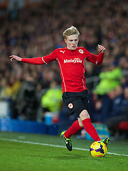 CARDIFF, WALES - Tuesday, February 11, 2014: Cardiff City's Mats Moller Daehli in action against Aston Villa during the Premiership match at the Cardiff City Stadium. (Pic by David Rawcliffe/Propaganda)