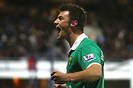 Picture by Paul Chesterton/Focus Images Ltd.  07904 640267.02/01/12.Anthony Pilkington of Norwich celebrates his sides 2nd goal during the Barclays Premier League match at Loftus Road Stadium, London.