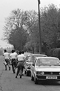 Collecting money People's  March for Jobs, Yorkshire to London. Chesterfield to Mansfield 13/05/1981.