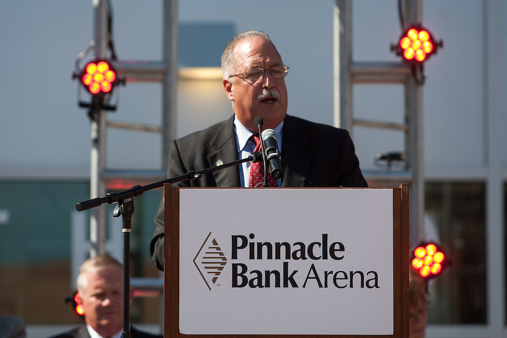 August 29, 2013: City Councilman Doug Emery speaks at the Grand Opening for the Pinnacle Bank Arena in Lincoln, Nebraska.