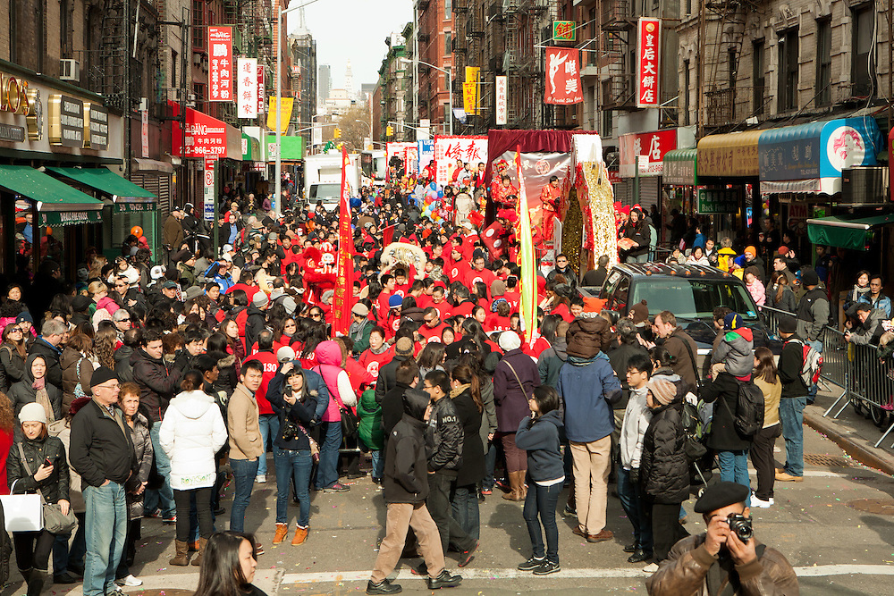Participants gathering on Mott Street prior to the start of the parade.