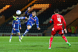Matthew Lund of Rochdale tries an acrobatic shot at goal  - Mandatory byline: Matt McNulty/JMP - 07966 386802 - 06/10/2015 - FOOTBALL - Spotland Stadium - Rochdale, England - Rochdale v Chesterfield - Johnstones Paint Trophy