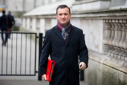 © Licensed to London News Pictures. 09/01/2018. London, UK. Secretary of State for Wales Alun Cairns walking through Whitehall to attend a Cabinet meeting in Downing Street this morning. Yesterday British Prime Minister Theresa May reshuffled her cabinet, appointing some new ministers. Photo credit : Tom Nicholson/LNP