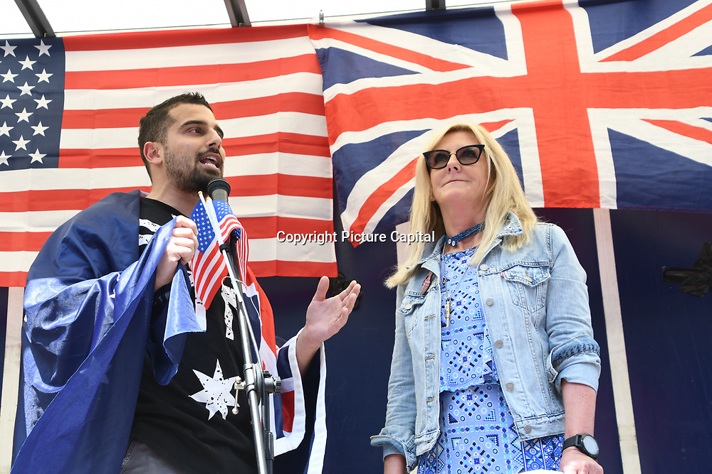 Avi Yemini and Debbie Robinson, Australian Liberty Alliance rally to Welcoming Trump to London Rally - Make Britain Great Again outside US Embassy, London, UK. July 14 2018.
