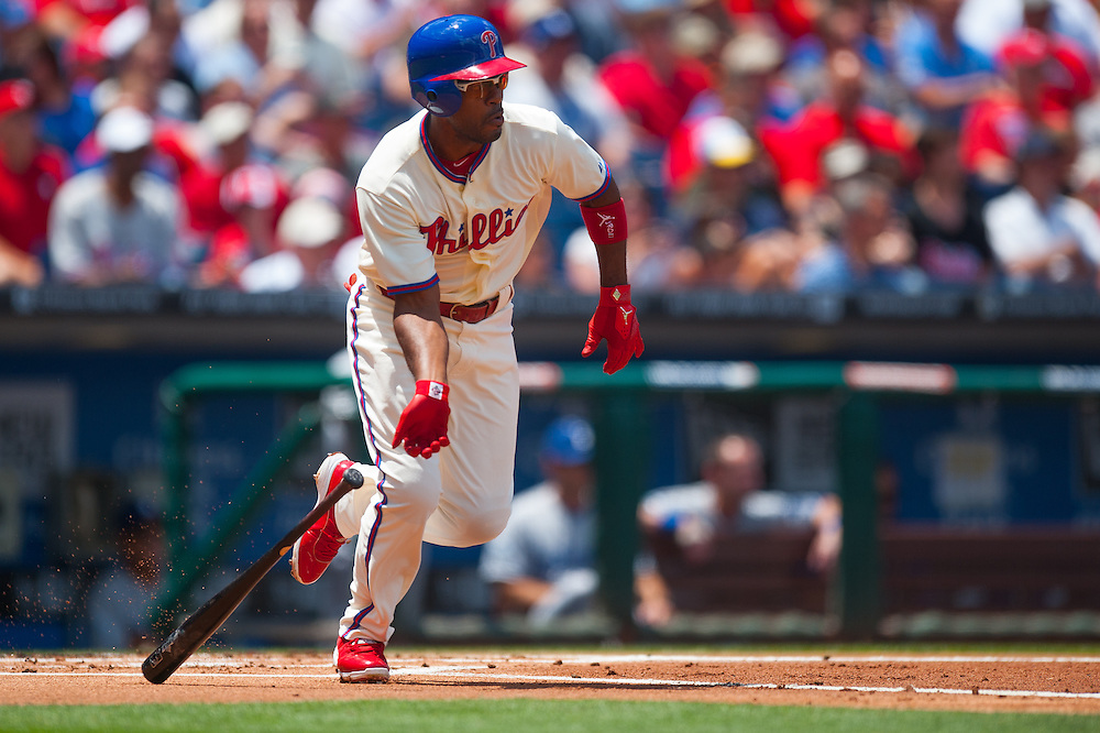 PHILADELPHIA, PA - JUNE 07: Jimmy Rollins #11 of the Philadelphia Phillies bats during the game against the Los Angeles Dodgers  at Citizens Bank Park on June 7, 2012 in Philadelphia, Pennsylvania. (Photo by Rob Tringali) *** Local Caption *** Jimmy Rollins