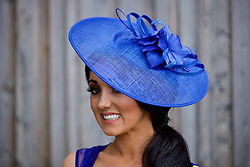 LIVERPOOL, ENGLAND - Thursday, April 6, 2017: Heidi, 26 from West Derby in Liverpool wearing a hat from Very.co.uk, during The Opening Day on Day One of the Aintree Grand National Festival 2017 at Aintree Racecourse. (Pic by David Rawcliffe/Propaganda)