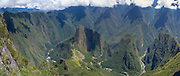 The Incan ruins of Machu Picchu and the small mountain, Huayna Picchu, photographed from atop Montaña Machu Picchu, near Aguas Calientes, Peru.