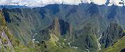 The Incan ruins of Machu Picchu and the small mountain, Huayna Picchu, photographed from atop Montaña Machu Picchu, near Aguas Calientes, Peru.
