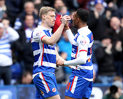 Reading's Pavel Pogrebnyak celebrates his goal with Reading's Jordan Obita - Photo mandatory by-line: Robbie Stephenson/JMP - Mobile: 07966 386802 - 04/04/2015 - SPORT - Football - Reading - Madejski Stadium - Reading v Cardiff City - Sky Bet Championship