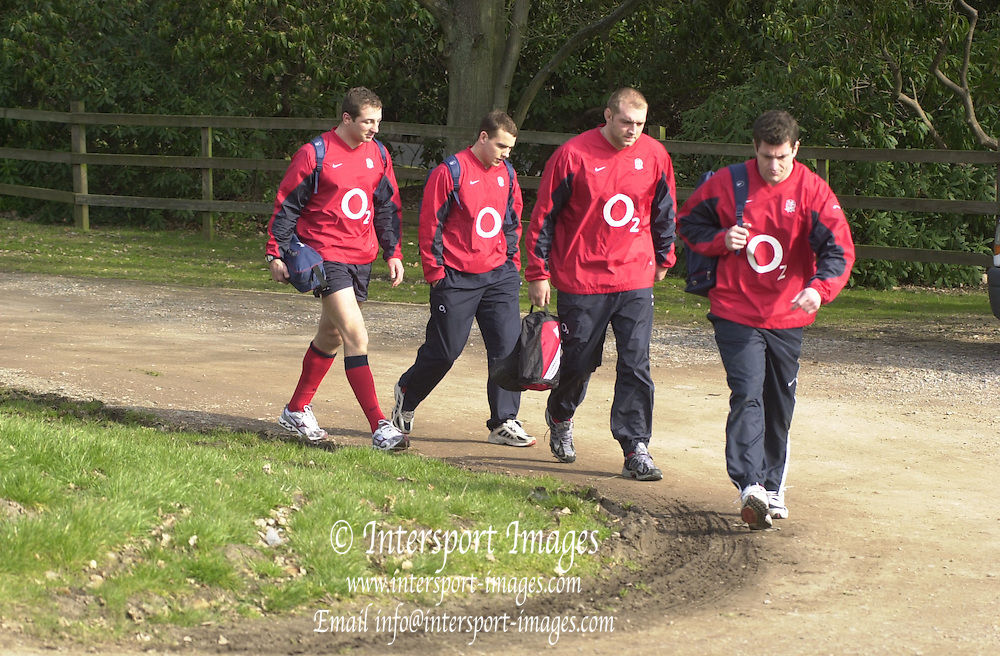 03/03/2004 Six Nations Rugby England Training- ENG v IRL. Pennyhill Park- Bagshot.Paul Grayson leads, Ben Kay, Ollie Barkley and Steve Borthwick...   [Mandatory Credit, Peter Spurier/ Intersport Images].
