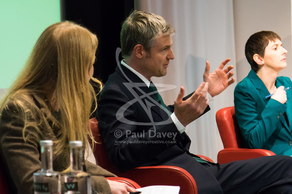 Royal Society of Medicine, London, March 4th 2016. Green Party mayoral candidate Sian Berry, left, and Liberal Democrat mayoral candidate Caroline Pidgeon listen toConservative Party mayoral candidate Zac Goldsmith at the Greener London Mayoral hustings held at the Royal Society of Medicine in London. ///FOR LICENCING CONTACT: paul@pauldaveycreative.co.uk TEL:+44 (0) 7966 016 296 or +44 (0) 20 8969 6875. ©2015 Paul R Davey. All rights reserved.