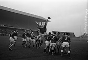 21/11/1964<br /> 11/21/1964<br /> 21 November 1964<br /> <br /> Leinster V Munster Rugby Interprovincial match at Landsdowne Rd.<br /> <br /> Noel Murphy (Cork Constitution), Captain of the Munster Team, jumps high to gather the ball from a line-out.