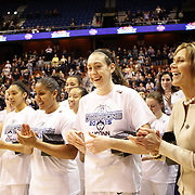 Breanna Stewart, UConn, jokes with team mates after their sides victory during the UConn Huskies Vs USF Bulls Basketball Final game at the American Athletic Conference Women's College Basketball Championships 2015 at Mohegan Sun Arena, Uncasville, Connecticut, USA. 9th March 2015. Photo Tim Clayton