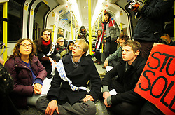 © under license to London News Pictures. SOAS students hold a teach-in on the Northern Line  (08/12/10) ahead of tomorrow's student protests in London. Photo credit should read: Olivia Harris/ London News Pictures