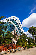The Cloud Forest Dome and sculptures at Gardens by the Bay, Singapore, Republic of Singapore