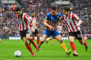 Samuel Habergham of Lincoln City (3) collects the ball from James Bolton of Shrewsbury Town (13) during the EFL Trophy Final match between Lincoln City and Shrewsbury Town at Wembley Stadium, London, England on 8 April 2018. Picture by Stephen Wright.
