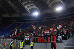 February 26, 2019 - Rome, Italy - AC Milan supporters before the Italian Cup football match between SS Lazio and AC Milan at the Olympic Stadium in Rome, on february 26, 2019. (Credit Image: © Silvia Lore/NurPhoto via ZUMA Press)