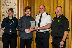 Pictured: Adult Volunteer Laura Stewart, Youth Volunteer, Greg Meechan, Assistant Chief Constable John Hawkins and PC Tony Howard Group co-ordinator<br /> Today the Police Scotland's Youth Volunteer scheme was presented with 'Investing in Volunteers' award by Volunteer Scotland. Assistant Chief Constable John Hawkins, Justice Secretary Michael Matheson, and George Thomson (Chief Executive) from Volunteer Scotland were on hand for the ceremony.<br /> <br /> <br /> Ger Harley | EEm 13 December 2017