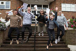 "© Licensed to London News Pictures. 15/08/2016. Sutton Coldfield, West Midlands,UK. Bishops Vesey's Grammar School pupils celebrating their A level results. Pictured from left, Ben Brady, Daniel Carruthers, Lucy Parize,Jemina Richardson-Jones, Rory Gaskin, all 18. Headmaster Dominic Robson said, ""The pupils had done amazingly well, achieving 80% A star and B grades especially given the change to the marking of the A level system this year. Photo credit: Dave Warren/LNP"