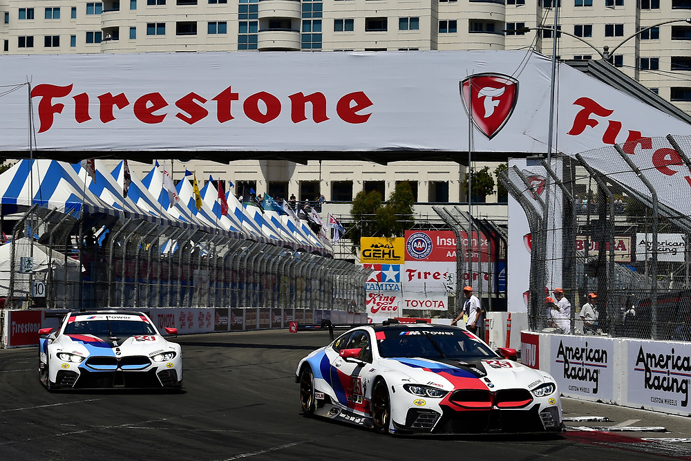 #24 BMW Team RLL BMW M8, GTLM: John Edwards, Jesse Krohn, #25 BMW Team RLL BMW M8, GTLM: Alexander Sims, Connor de Phillippi<br /> Saturday 14 April 2018<br /> BUBBA burger Sports Car Grand Prix at Long Beach<br /> Verizon IndyCar Series<br /> Streets of Long Beach CA USA<br /> World Copyright: Scott R LePage<br /> LAT Images