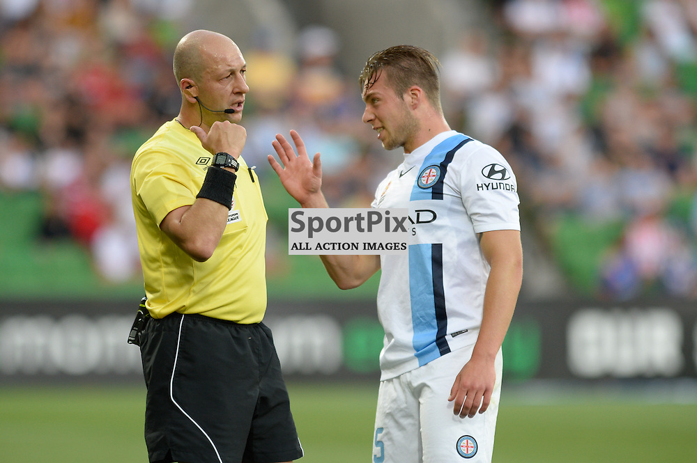 Jacob Melling of Melbourne City disputes a call by referee Strebre Delovski - Hyundai A-League, January 2nd 2016, RD13 match between Melbourne City FC V Sydney FC at Aami Park, Melbourne, Australia in a 2:2 draw. © Mark Avellino   SportPix.org.uk