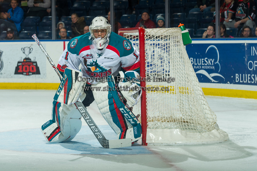 KELOWNA, CANADA - JANUARY 5: James Porter #1 of the Kelowna Rockets defends the net against the Seattle Thunderbirds on January 5, 2017 at Prospera Place in Kelowna, British Columbia, Canada.  (Photo by Marissa Baecker/Shoot the Breeze)  *** Local Caption ***