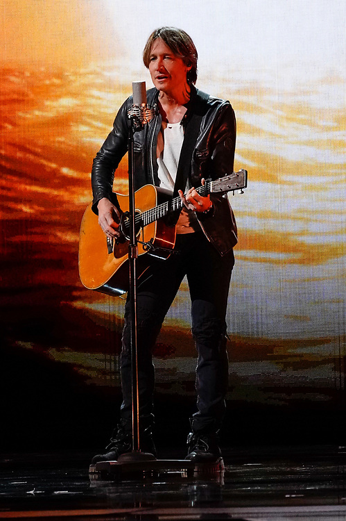 NASHVILLE, TENNESSEE - NOVEMBER 13: (FOR EDITORIAL USE ONLY) Keith Urban performs onstage during the 53rd annual CMA Awards at the Bridgestone Arena on November 13, 2019 in Nashville, Tennessee.