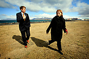 Gunnar Svensson and Erna Hauksdottir at the Icelandic Travel Industry Association. Icelandic people see the Eyafjallajokul volcanic eruption as a welcoming distraction to the mess the government is in due to the financial collapse.