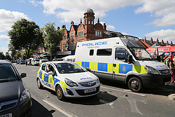 © Licensed to London News Pictures. 29/08/2016. Leeds, UK. A large police presence at what is believed to be the scene of shooting that took place last night. This is as yet unconfirmed by the police. The incident happened in the Chappeltown area of Leeds where the West Indian Carnival is taking place this weekend. Photo credit : Ian Hinchliffe/LNP