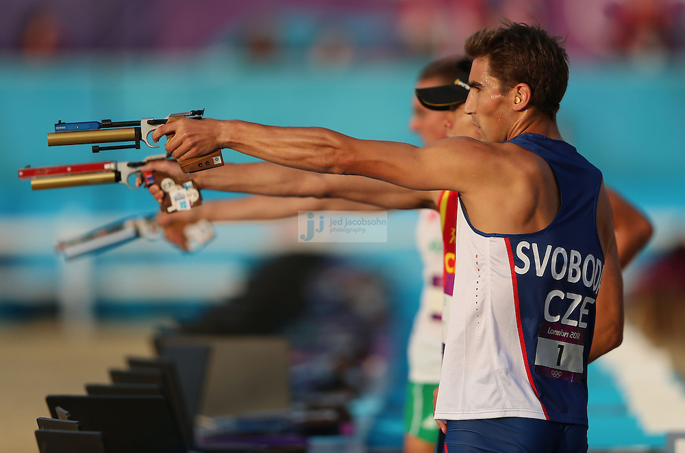 David Svoboda of the Czech Republic competes during the shooting portion of the men's modern pentathlon during day 15 of the London Olympic Games in London, England, United Kingdom on August 11, 2012..(Jed Jacobsohn/for The New York Times)..