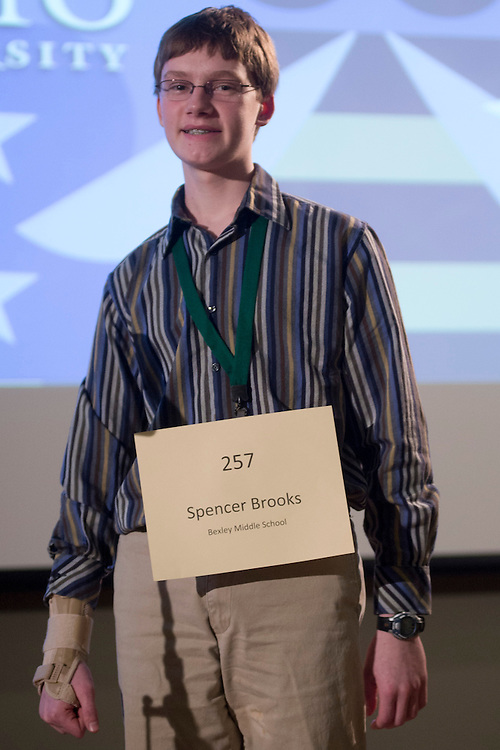 Spencer Brooks of Bexley Middle School introduces himself during the Columbus Metro Regional Spelling Bee Regional Saturday, March 16, 2013. The Regional Spelling Bee was sponsored by Ohio University's Scripps College of Communication and held in Margaret M. Walter Hall on OU's main campus.