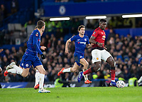 Football - 2018 / 2019 Emirates FA Cup - Fifth Round: Chelsea vs. Manchester United <br /> <br /> Paul Pogba (Manchester United) breaks away fro 3 Chelsea defenders at Stamford Bridge<br /> <br /> COLORSPORT/DANIEL BEARHAM