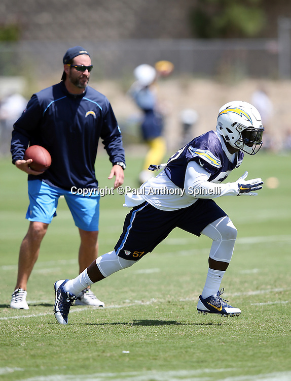 San Diego Chargers rookie linebacker Jatavis Brown (57) chases the action during the Chargers 2016 NFL minicamp football practice held on Tuesday, June 15, 2016 in San Diego. (©Paul Anthony Spinelli)