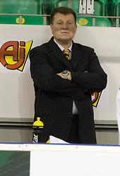 Head coach of Croatia Pavle Kavcic at IIHF Ice-hockey World Championships Division I Group B match between National teams of Hungary and Croatia, on April 20, 2010, in Tivoli hall, Ljubljana, Slovenia.  (Photo by Vid Ponikvar / Sportida)