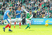 Jamie McLaren shoots and scores during the Ladbrokes Scottish Premiership match between Hibernian and Rangers at Easter Road, Edinburgh, Scotland on 13 May 2018. Picture by Kevin Murray.