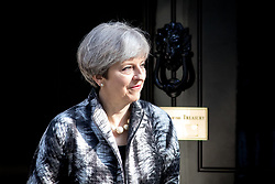 © Licensed to London News Pictures. 20/04/2017. London, UK. British Prime Minister Theresa May meets President of the European Parliament Antonio Tajani (not pictured) in Downing Street today. May triggered Article 50 on 29 March 2017, formally beginning Britain's exit from the EU. Photo credit : Tom Nicholson/LNP