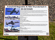 Information panel Fairchild Republic A-10A Thunderbolt 11 fighter plane, Bentwaters Cold War museum, Suffolk, England, UK