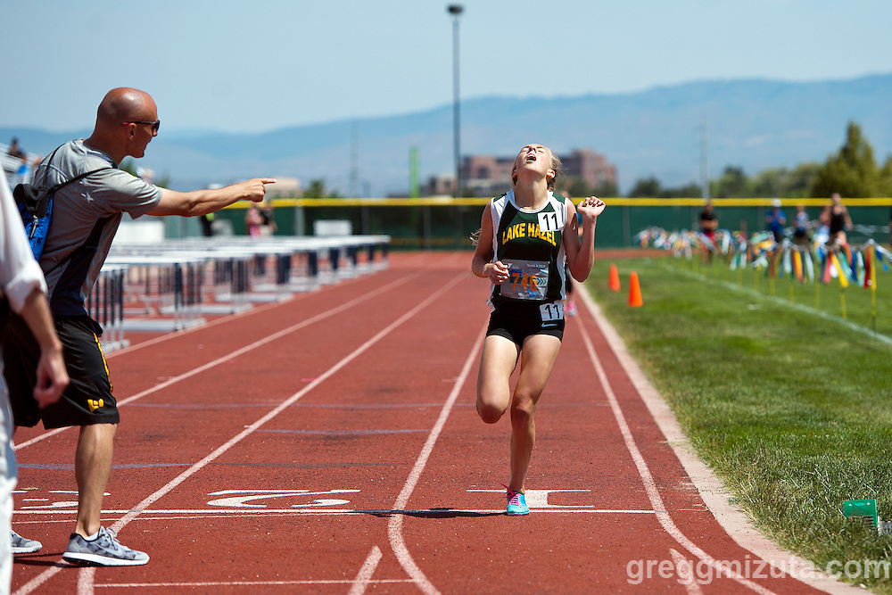 Lake Hazel eighth grader Lexy Halladay wins the YMCA Track &amp; Field Middle School Invitational 1600 meter run on May 28, 2016 at Mountain View High School, Meridian, Idaho.<br /> <br /> Hallady won the event in 4:46.47, the fastest time in the nation this year for an eighth grader.
